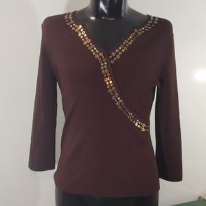Cable & Gauge Brown Stretch Blouse